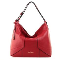 Женская сумка мешок из мягкой натуральной кожи красного цвета, носится на плечо от Fiato Dream, арт. 3029