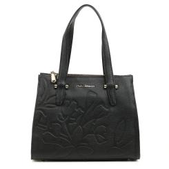 Вместительная женская сумка из черной кожи с изысканным тиснением и замши от Fiato Dream, арт. 3052