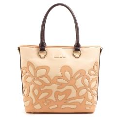 Стильная бежевая сумка из натуральной кожи с цветочной нашивкой песочного цвета от Fiato Dream, арт. 5009-d95766