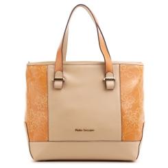 Женская сумка из натуральной кожи бежевого цвета с оранжевыми вставками от Fiato Dream, арт. 5023-d95793