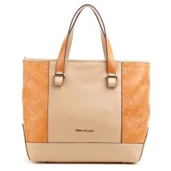 Стильная женская сумка бежевого цвета с оранжевыми боковыми вставками от Fiato Dream, арт. 5025-d95796