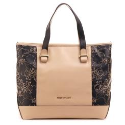 Большая женская сумка бежевого цвета со вставками черного цвета от Fiato Dream, арт. 5025