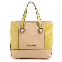 Женская сумка из натуральной кожи бежевого цвета с желтыми элементами от Fiato Dream, арт. 5036