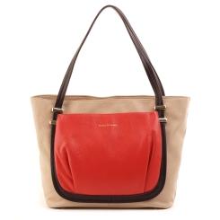 Бежевая женская сумка из натуральной кожи с накладным карманом кораллового цвета от Fiato Dream, арт. 5063-d95657