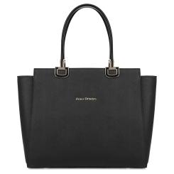 Стильная женская сумка черного цвета из натуральной кожи с тиснением Saffiano от Fiato Dream, арт. 6013-d178849
