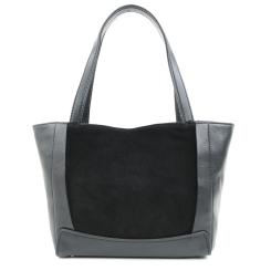 Классическая женская сумка из натуральной черной кожи и замши с ножками на дне от Fiato, арт. 3314