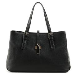 Женская кожаная сумка черного цвета с тремя отделениями от Fiato, арт. 5228