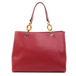 Красная кожаная женская сумка с оригинальной металлической фурнитурой от Fiato, арт. 5234-d127459
