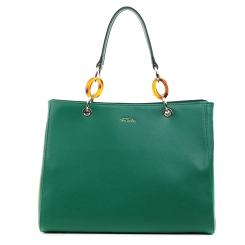 Классическая женская кожаная сумка зеленого цвета с длинными ручками от Fiato, арт. 5234