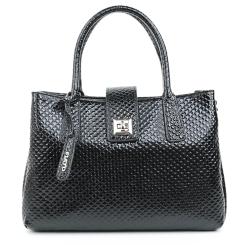 Женская сумка из лакированной натуральной кожи черного цвета с тиснением от Fiato, арт. 5277-d130176