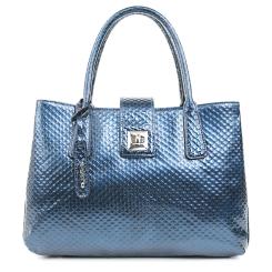 Синяя женская сумка из лаковой натуральной кожи с тиснением от Fiato, арт. 5277