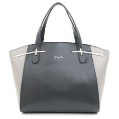 Женская сумка из черной и серой натуральной кожи с металлическими ножками от Fiato, арт. 5432