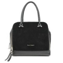 Замшевая женская сумка черного цвета с тремя большими отделами на молниях от Fiato, арт. 3057