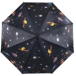 Черный женский зонт трость полуавтомат с рисунком на космическую тему от Flioraj, арт. 050221 FJ