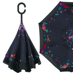 Стильный женский зонт трость, механический, черного цвета, с ярким рисунком от Flioraj, арт. 120023/2 FJ