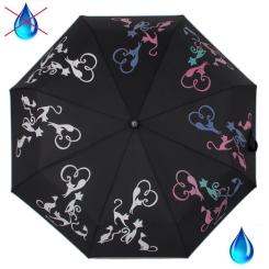 Элегантный женский зонт , автомат черного цвета с рисунком из кошек от Flioraj, арт. 210613 FJ