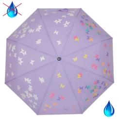 Модный женский зонт автомат, фиолетового цвета с рисунком из мотыльков и бабочек от Flioraj, арт. 210714 FJ