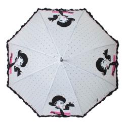 Женский белый зонт-трость с рисунком на большом куполе от Flioraj, арт. 121213 FJ