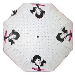 Белый женский зонт в мелкий черный горошек, украшенный романтичным рисунком от Flioraj, арт. 160406 FJ