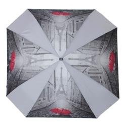 Женский зонт с большим куполом, украшенным рисунком и серыми вставками от Flioraj, арт. 170101 FJ