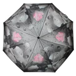 Темно-серый женский зонт, украшенный эффектными розами от Flioraj, арт. 190215 FJ