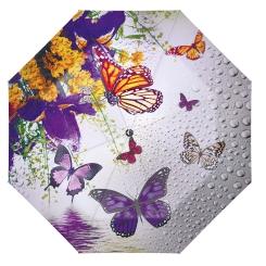 Женский зонт с нежным и романтичным рисунком в виде бабочек и цветов от Flioraj, арт. 231208 FJ
