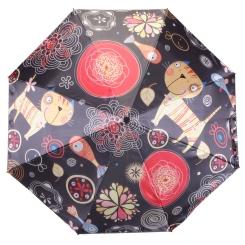 Модный женский зонт темного цвета с оригинальным рисунком на куполе от Flioraj, арт. 231220 FJ