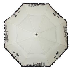 Модный белый зонт, украшенный стильным рисунком и контрастной оборкой от Flioraj, арт. 250104 FJ