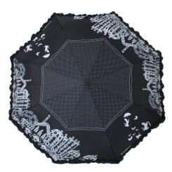 Стильный черный женский зонт с красивым городским рисунком от Flioraj, арт. 250105 FJ
