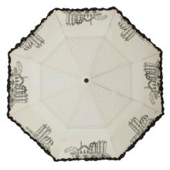 Эффектный бледно-серый женский зонт с городским рисунком от Flioraj, арт. 250106 FJ