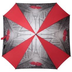 Стильный красно-серый зонт с изображением Эйфелевой башни от Flioraj, арт. 290402 FJ