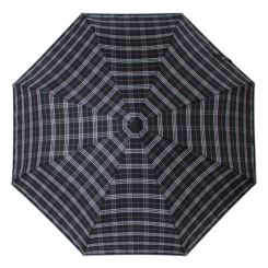 Стильный мужской зонт автомат, черного цвета с принтом в клетку от Flioraj, арт. 017002 FJ