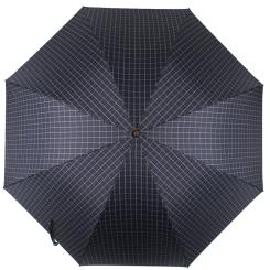 Мужской зонт трость синего цвета, с принтом в мелкую клетку от Flioraj, арт. 23241 FJ