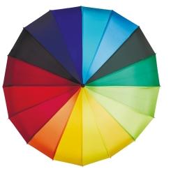 Яркий радужный зонт-трость с большим куполом на восьми спицах от Flioraj, арт. 121201/1 FJ