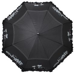 Женский черный с рисунком зонт с полуавтоматической конструкцией от Flioraj, арт. 121207 FJ
