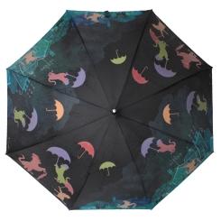 Черный женский зонт-трость с эффектным проявляющимся на дожде рисунком от Flioraj, арт. 121210 FJ