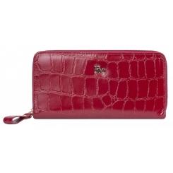 Модный женский кошелек из натуральной кожи гранатового цвета с тиснением от Franchesco Mariscotti, арт. AB22155