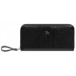 Практичный женский кошелек из натуральной кожи черного цвета с тиснением от Franchesco Mariscotti, арт. AB22197