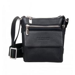 Удобная маленькая мужская сумка через плечо из черной натуральной кожи от Franchesco Mariscotti, арт. AB18690
