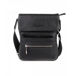 Маленькая мужская сумка планшет из черной натуральной кожи от Franchesco Mariscotti, арт. AB19376