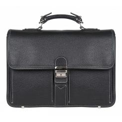 Элегантный мужской деловой портфель из черной натуральной кожи от Franchesco Mariscotti, арт. AB20762