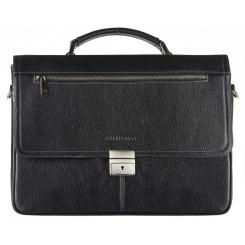 Деловой мужской кожаный портфель для документов, модель черного цвета от Franchesco Mariscotti, арт. AB21988