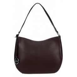 Кожаная женская сумка-мешок коричневого цвета с черной отделкой от Franchesco Mariscotti, арт. AB17705