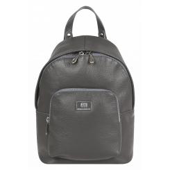 Удобный женский городской рюкзак из темно-серой натуральной кожи от Franchesco Mariscotti, арт. AB21140