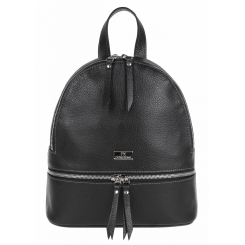 Элегантный городской женский рюкзак из черной натуральной кожи от Franchesco Mariscotti, арт. AB21353