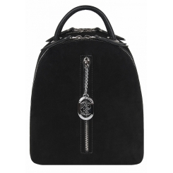 Модный городской женский рюкзак из черной натуральной замши от Franchesco Mariscotti, арт. AB21765