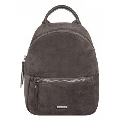 Стильный маленький женский городской рюкзак из серой натуральной замши от Franchesco Mariscotti, арт. AB21806