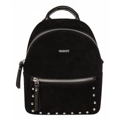 Маленький женский городской рюкзак из черной натуральной замши и кожи от Franchesco Mariscotti, арт. AB21817