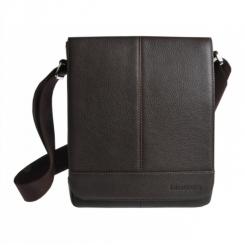 Кожаная мужская сумка планшет, коричневого цвета, с длинным плечевым ремнем от Franchesco Mariscotti, арт. AB18904