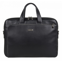 Удобная мужская деловая сумка из натуральной кожи, черного цвета от Franchesco Mariscotti, арт. AB20346